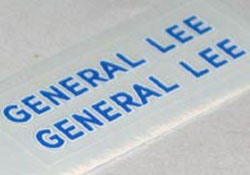 General Lee roof lettering stickers