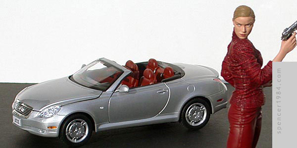 Kristanna Loken's Lexus SC430 from Terminator 3: Rise of the Machines, Terminatrix figure by McFarlane