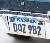 Jericho Roadrunner DQZ 9B2 Kansas License plate