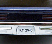 1967 Pontiac GTO rear license plate